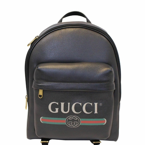 14e02f3cb3f6 Gucci Bags | Print Leather Backpack Bag Black 547834 | Poshmark